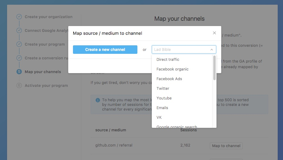 Channels mapping selection
